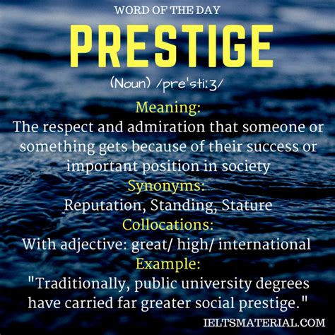 Prestige - Word Of The Day For IELTS
