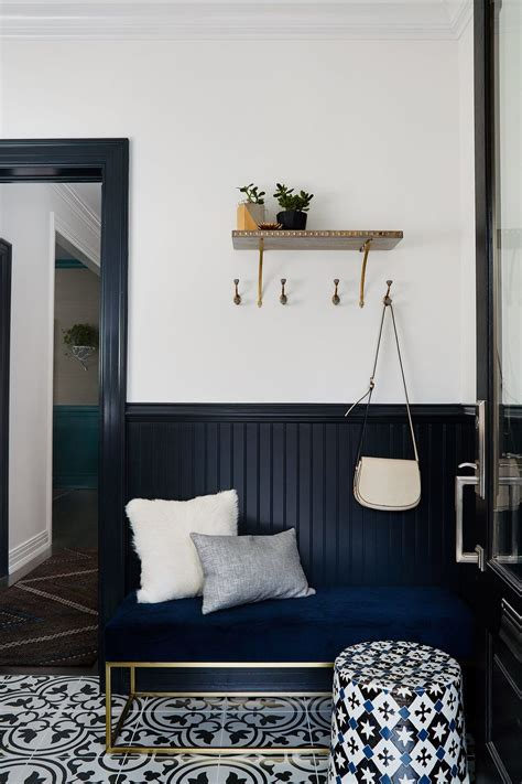 Color Palette: Black and Navy Blue   Black wainscoting