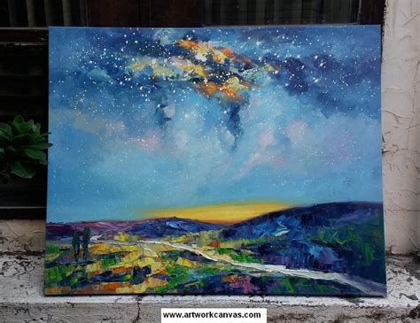 Starry Night Sky Painting, Abstract Landscape Painting I
