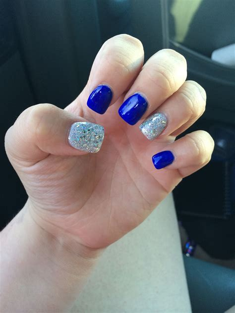 Royal blue with silver glitter nails   Prom nails silver