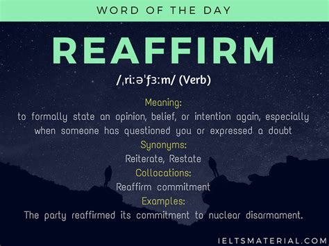 Reaffirm - Word Of The Day For IELTS Speaking And Writing